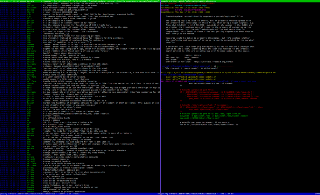 wide screen view of devel/tig showing commit list and a commit log entry