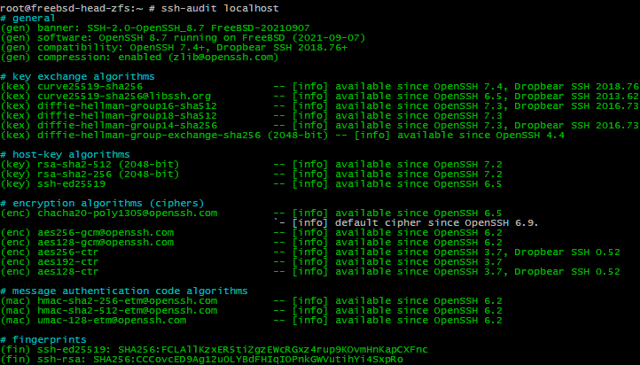 ssh-audit actually pleased over the improvements for OpenSSH 8.7p1 on FreeBSD 14.0-CURRENT