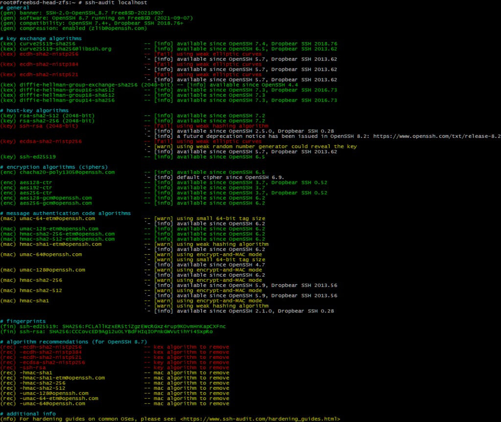 ssh-audit showing a lot to be improved for OpenSSH 8.7p1 on FreeBSD 14.0-CURRENT